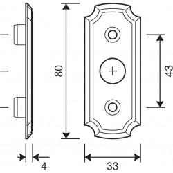 technische Zeichnung mit Abmessungen Rosette