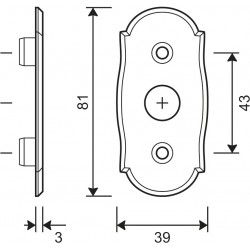 technische Zeichnung mit Abmessungen Fenstergriff-Rosette