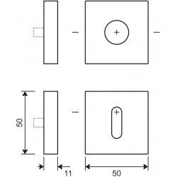 technische Zeichnung mit Abmessungen Rosetten