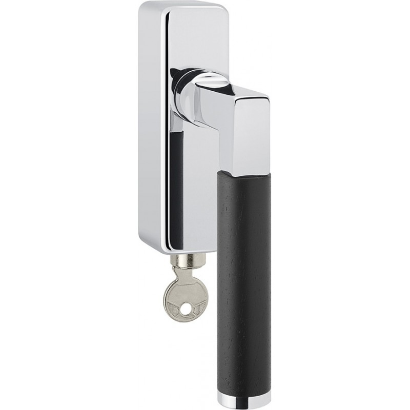 AHB Fenstergriff Linea Ebenholz abschließbar Chrom poliert / Ebenholz 35 mm