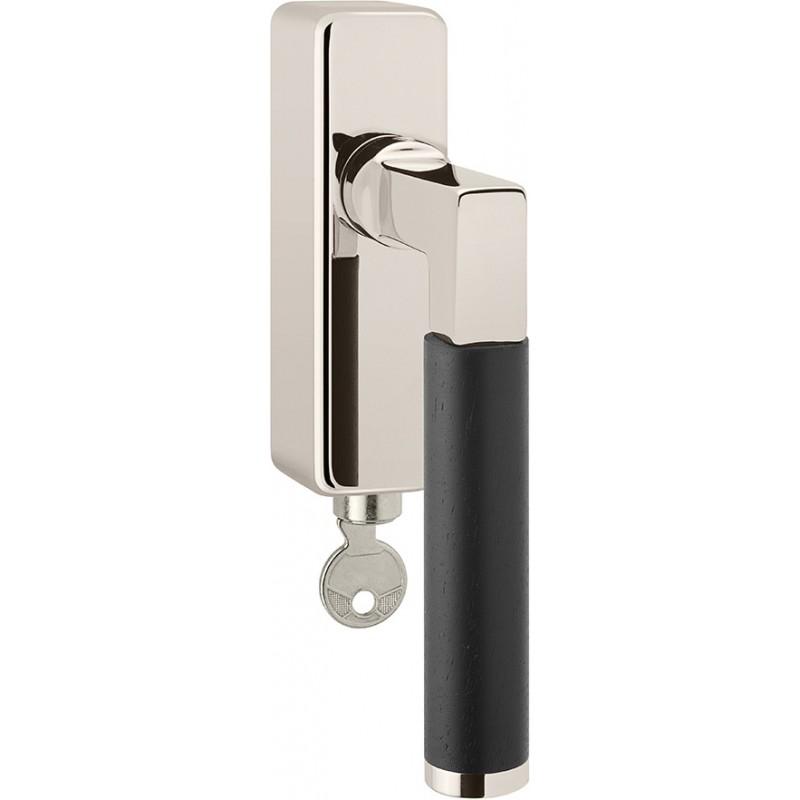 AHB Fenstergriff Linea Ebenholz abschließbar Nickel poliert / Ebenholz 42 mm
