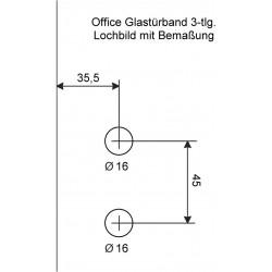 AHB Glastürbeschlag Set 6004//6115 J-Form Studio Office WC Edelstahl Schloss Band