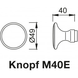 technische Zeichnung mit Abmessungen des Knopfes