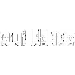 Hoppe Schutzrosettenpaar E52NSB-ZA E52NSB-ZA/52S ES1 (SK2) Edelstahl matt