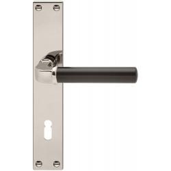 AHB Drueckergarnitur 1211/2274 Langschild Nickel poliert / Lack schwarz BB