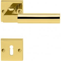 Suedmetall Drueckergarnitur Alaska Square-R Rosette Gold poliert PVD BB