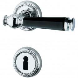 Jatec Drueckergarnitur Sanssouci Rosette Chrom poliert / Porzellan schwarz BB
