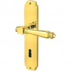 Jatec Drueckergarnitur Portal Langschild Ultra Messing poliert BB