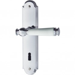Jatec Drueckergarnitur Sanssouci 990 Langschild Chrom poliert / Porzellan weiß BB
