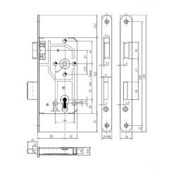 KFV Profilzylinder-Einsteckschloesser 114-1/2 Lack silberfarben
