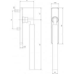 technische Zeichnung mit Abmessungen Griff