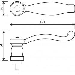 technische Zeichnung mit Abmessungen Griffteil