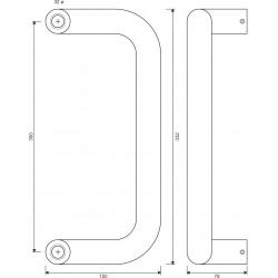 Zeichnung mit Abmessungen Rechteckgriff